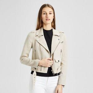 Theory Linen Shrunken Moto Jacket Flax Natural